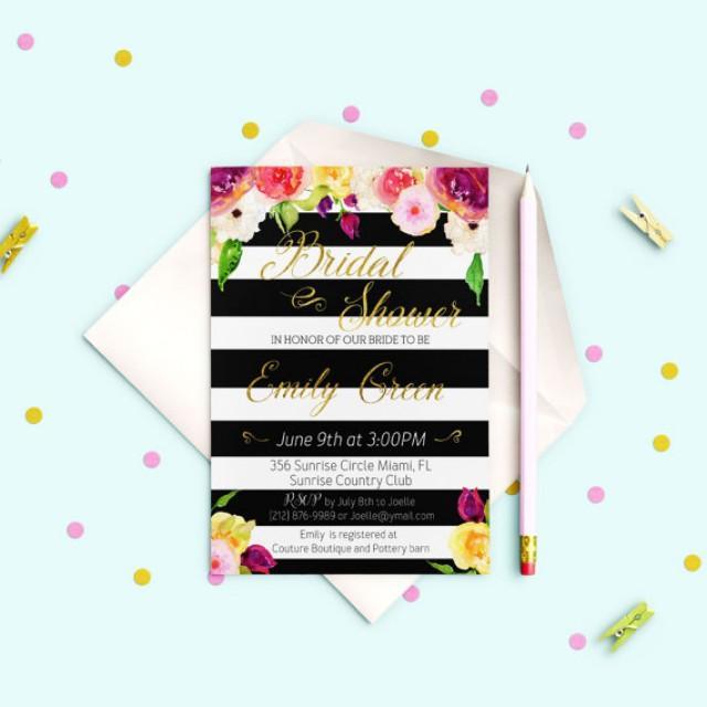 wedding photo - Printable Bridal Shower Invitation Bridal Shower Glitter Gold Shower Invitation Bridal Shower Invite Black & White stripes idb17