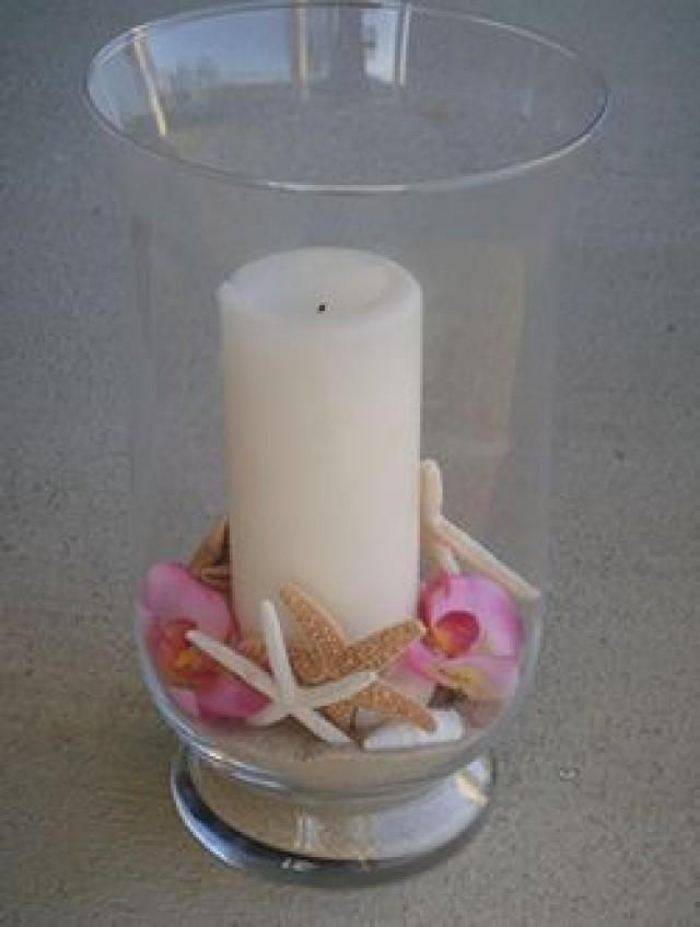 Beach theme wedding shell and candle centerpiece kit