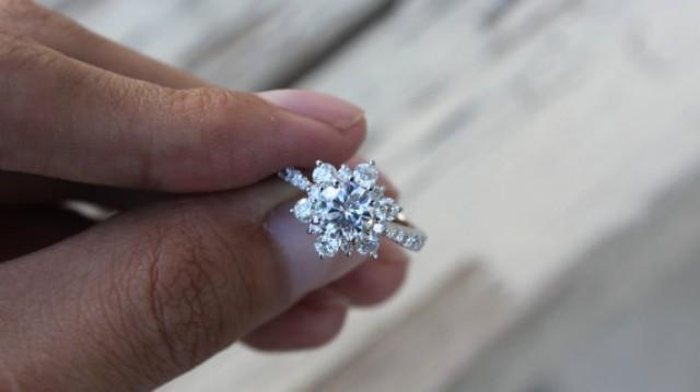 wedding photo - Moissanite Rings in Australia, USA, UK, Canada - 1 Carat Forever One Moissanite & Diamond Flower Lotus Halo Engagement Ring - Diamond Bloom - Engagement Rings for Women