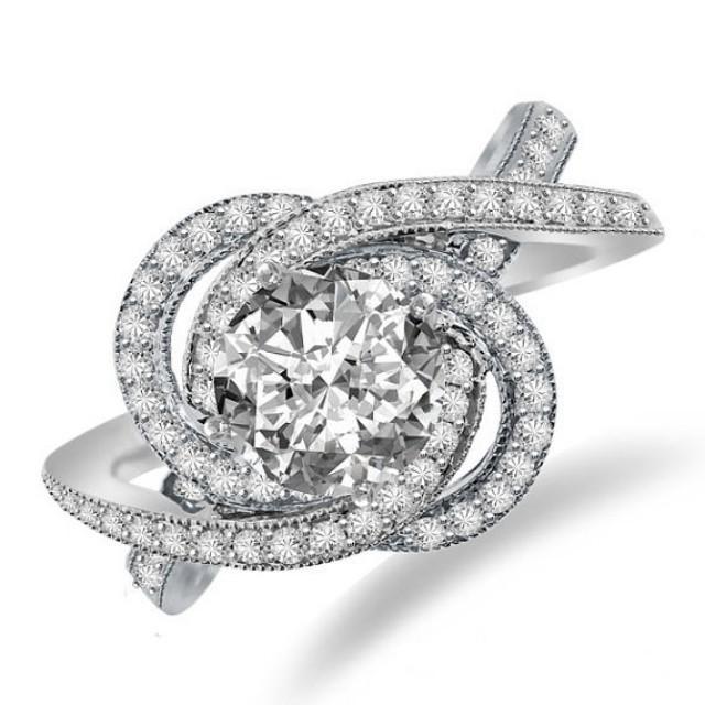 Forever e Moissanite & Diamond Swirl Halo Engagement Ring 14k White Gol
