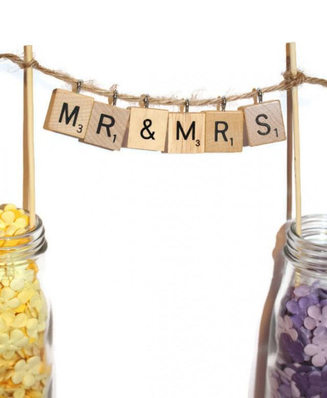 Mr And Mrs Bunting Cake Topper