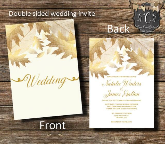 Gold Wedding Invitation, Gold Leaves Invitation,Fall