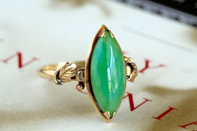vintage jadeite engagement ring art nouveau style jade. Black Bedroom Furniture Sets. Home Design Ideas