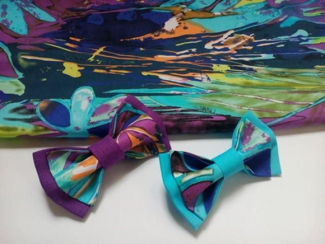 wedding photo - Wedding Bow ties for Twins Bowties for Father and son Violet Purple Sky blue Necktie nœuds papillons pour père et fils Para padre e hijo