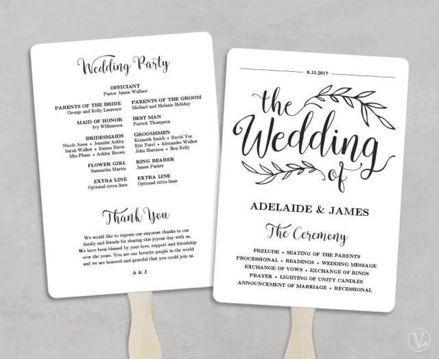 Printable Wedding Program Template Fan Wedding Program Kraft – Calligraphy Paper Template
