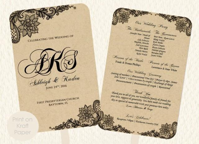 wedding fan program template lace kraft rustic style print