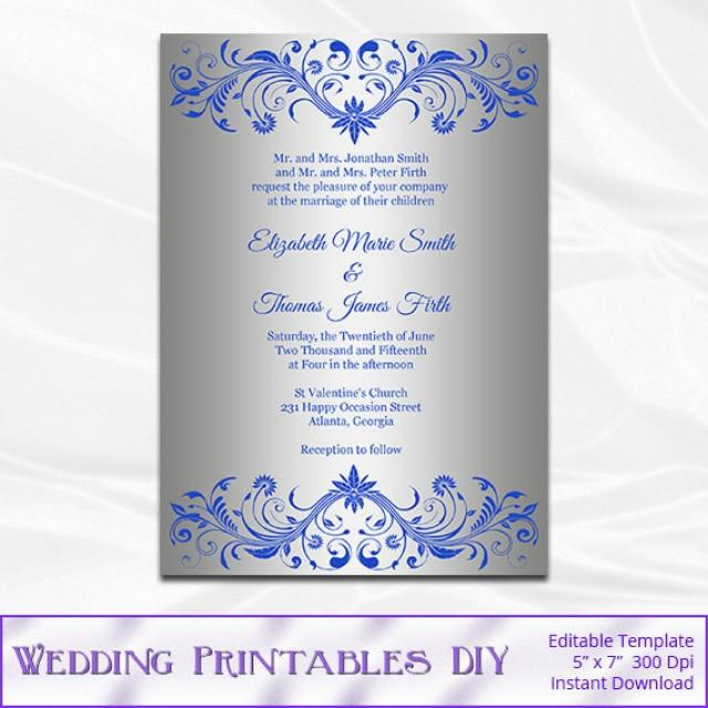Royal Blue And Silver Wedding Invitation Template, Diy ...