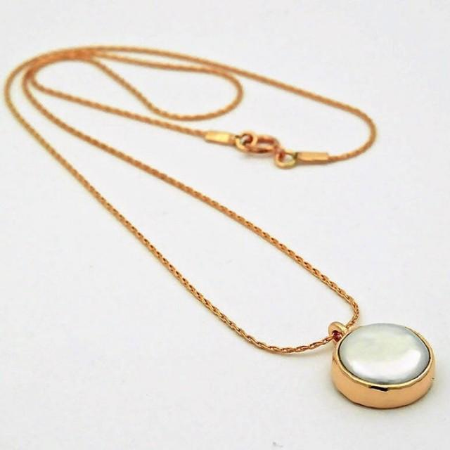 wedding photo - Round Pearl Gold Pendant - Gold Pendant Necklace - Round Pearl Gold Necklace - Bridal Jewellery - Gold pearl Jewellery - Bridal Necklace