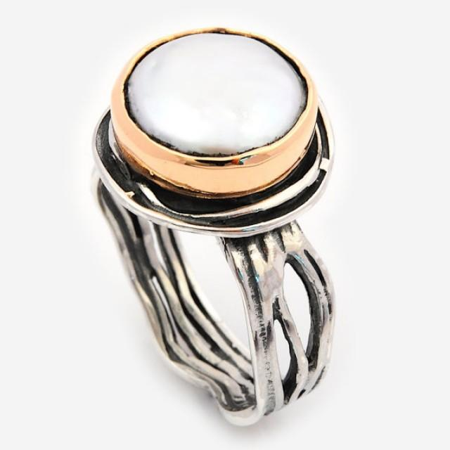 wedding photo - Large Pearl Ring, Vintage Pearl ring, Silver gold ring, Two tones Ring, Statement Silver Ring, sterling silver ring, cocktail silver ring