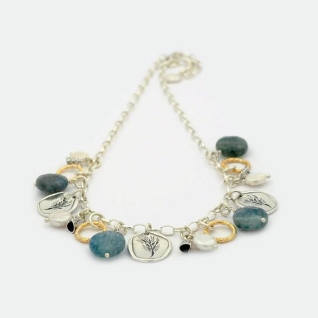 wedding photo - Sterling Silver Charm Necklace, Handmade harvest coin Necklace, green agate & Pearls with Yellow Gold Filled Brushed Components