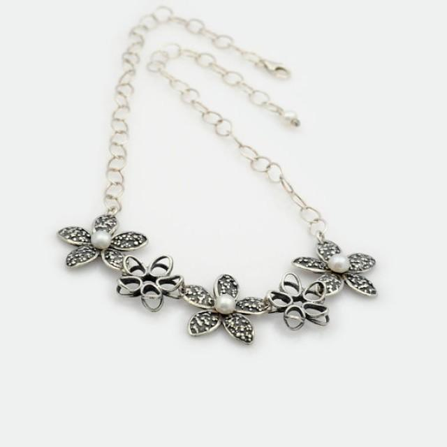 wedding photo - Sterling Silver Floral Necklace, Flower Chain Necklace, Silver Flower Necklace, flower jewelry, Nature Inspired, botanical jewelry