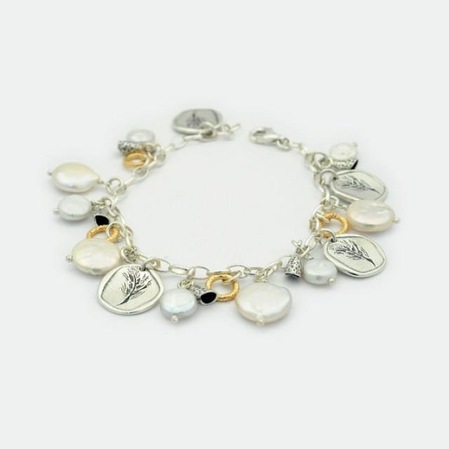 wedding photo - Pearl Charm Bracelet, Pearl Mix Charm Bracelet, Coin Silver Charm Bracelet, Silver Coin bracelet, Coin Charm Bracelet, Gold charm bracelet
