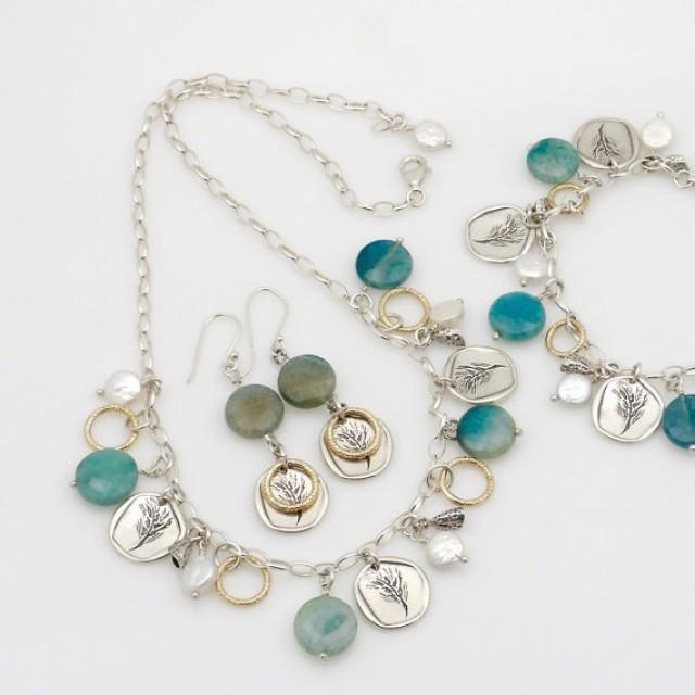 wedding photo - Green agate Necklace, Silver coin Necklace, Pearls agate Necklace, Silver Charm Necklacet, Silver Pearl Necklace, Agate Charm Necklace