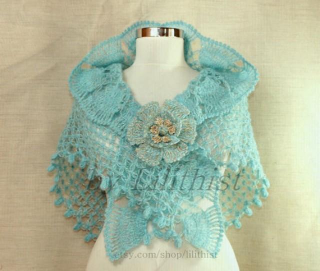 Coral Blue Crochet Shawl, Bridal Shawl, Triangle Shawl ...