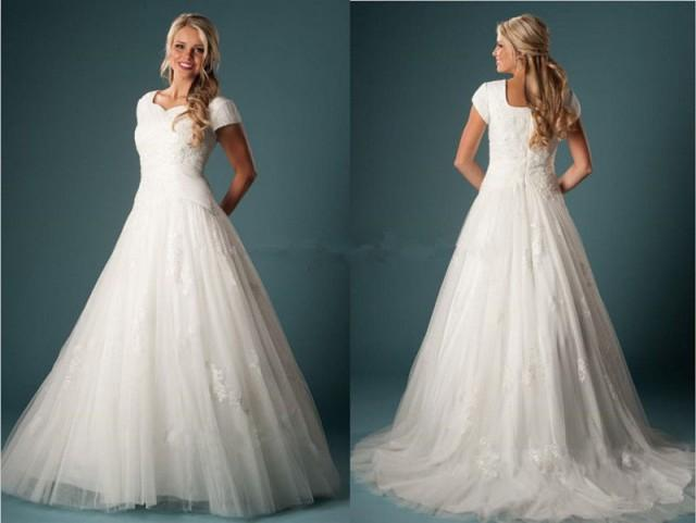 modest appliques tulle wedding dress bridal gown custom