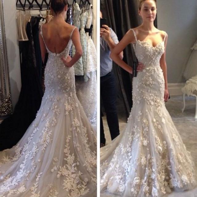 wedding photo - Charming Spaghetti Straps Mermaid Wedding Dress Bridal Gown with Aqppliques