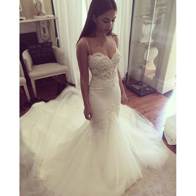wedding photo - Charming Spaghetti Straps Mermaid Wedding Dress with Appliques