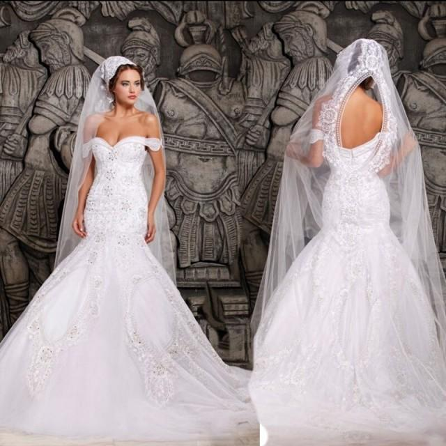 wedding photo - Luxurious Mermaid Wedding Dresses - White Off the Shoulder Bridal Gown with Beaded