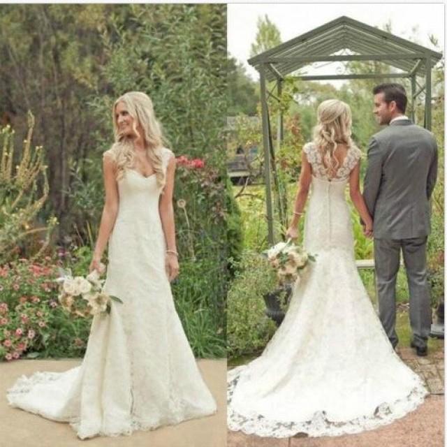 wedding photo - Vintage Wedding Dress - White Straps Lace LAWD-90023