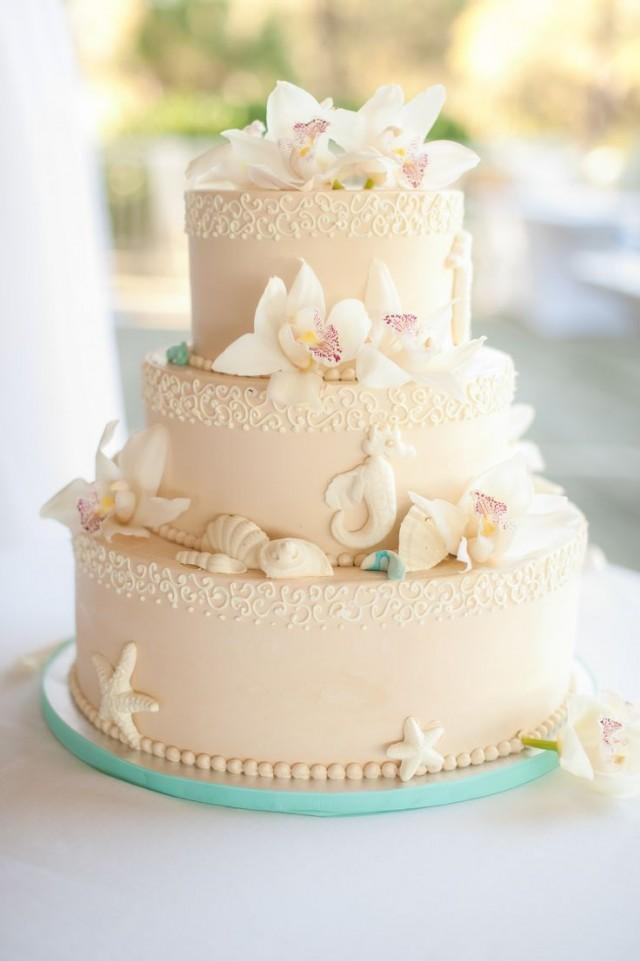 Beach Themed Wedding Cake With Seashells And Seahorses 2547476