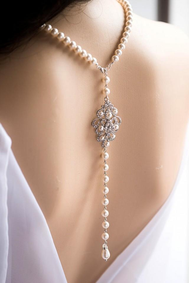 Bridal backdrop necklace crystal and swarovski pearl for Back necklace for wedding dress