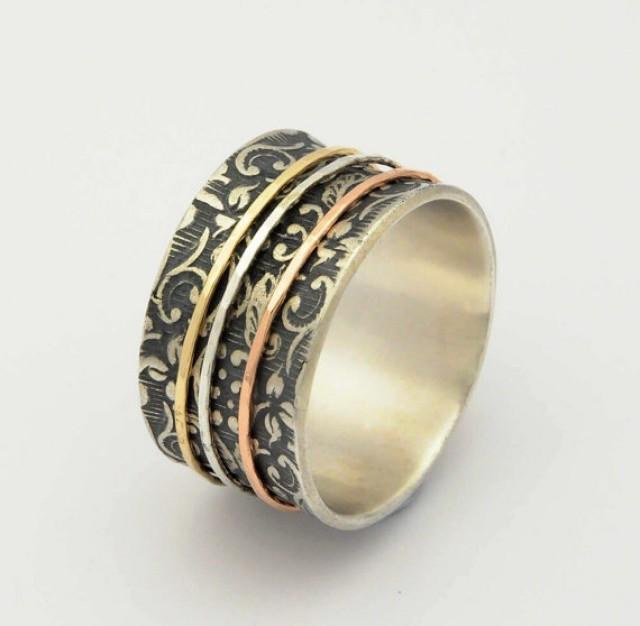wedding photo - Floral Spinner rings, Floral Silver ring, Botanical Silver Ring, Wedding band, Mixed metal ring, Oxidized Silver Ring, Silver Gold Ring