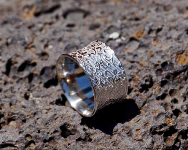 wedding photo - Wide Concave Silver Thumb Ring, Wide Silver Ring, Leaf Patterned Ring, Leaf Wedding Ring, Silver Leaf Wedding Ring, Botanical ring,