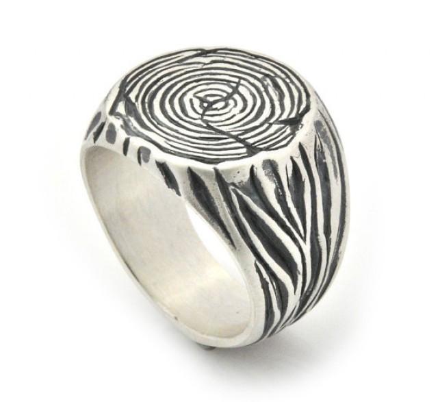 wedding photo - Men's Signet Ring - Tree Trunk silver Ring - Sterling Silver Signet - Tree Trunk Ring - Tribal Ring - Tree Ring - Nature inspired Ring