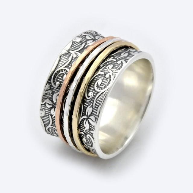 wedding photo - Leaf Motif Spinner Ring - Spinning Ring - two tone ring - Meditation Ring - Fidget Ring - Worry Ring - Triple Spinner Ring - Silver ring