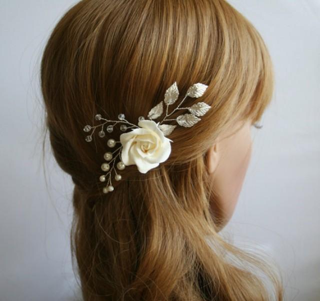 wedding photo - Clay rose, Wedding flower hair pin, Bridal flower hair pin, Bridal hair clip, Leaf hair clip, flower hair pin