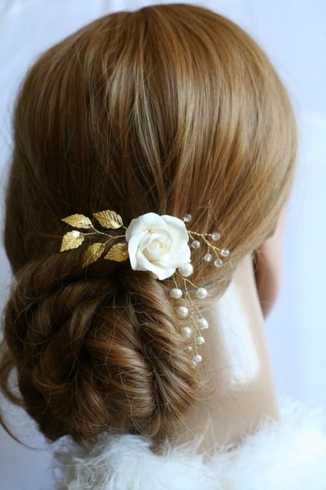 wedding photo - Rose Hair Pin, Bridal Hair Pin, Gold leaf Hair Pin, Wedding flower hair pin, Bridal headpiece, Bridal Hair accessories