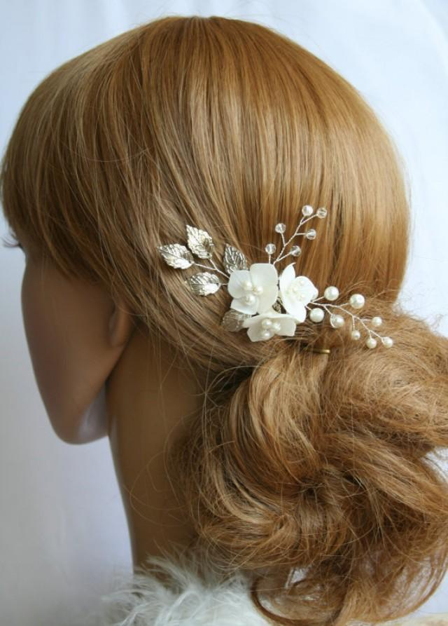 wedding photo - Pearl Leaf hair pin, Flower wedding hair pin, Flower bridal hair pin, Leaf hair clip, Bridal hair pin, Bridal hair clip, flower hair pin