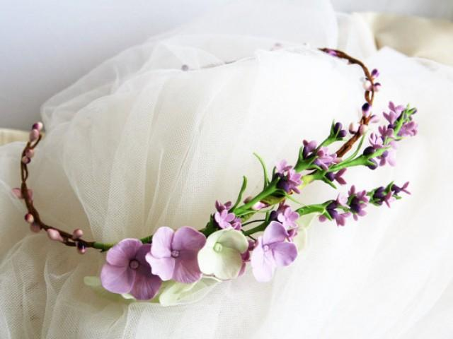 wedding photo - Lavender flower crown, bridal flower crown, wedding flower crown, lavender wedding, Provence wedding, flower crown
