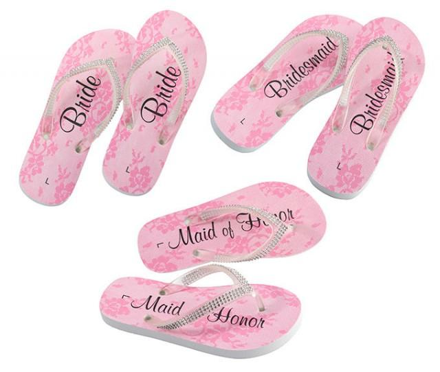 New Wedding Bridal Party Thongs Bride Bridesmaid Maid Of Honor Gift Flip Flops 2549617