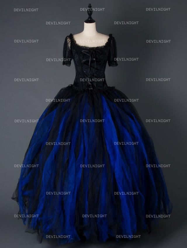 wedding photo - Black and Blue Short Sleeves Gothic Corset Long Prom Party Dress