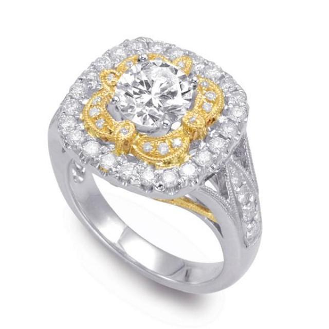 wedding photo - Vintage-Inspired Forever One Moissanite & Diamond Ring 14k Two Tone, Bridal Wedding Moissanite Rings, Moissanite Jewelry Antique Style, Art Deco