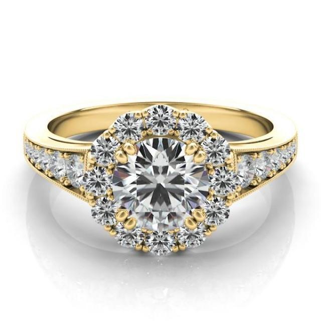 wedding photo - Forever One Moissanite & Graduated Diamond Ring 14k Yellow Gold, Moissanite Engagement Rings for Women