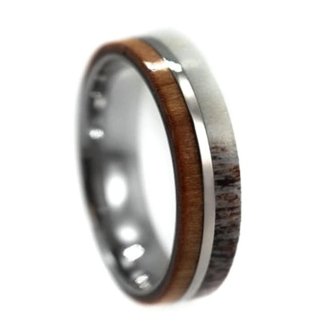 wedding photo - Cherry Wood and Deer Antler Wedding Ring for Men, Titanium Band with Wood and Antler Inlay, Titanium Wedding Band