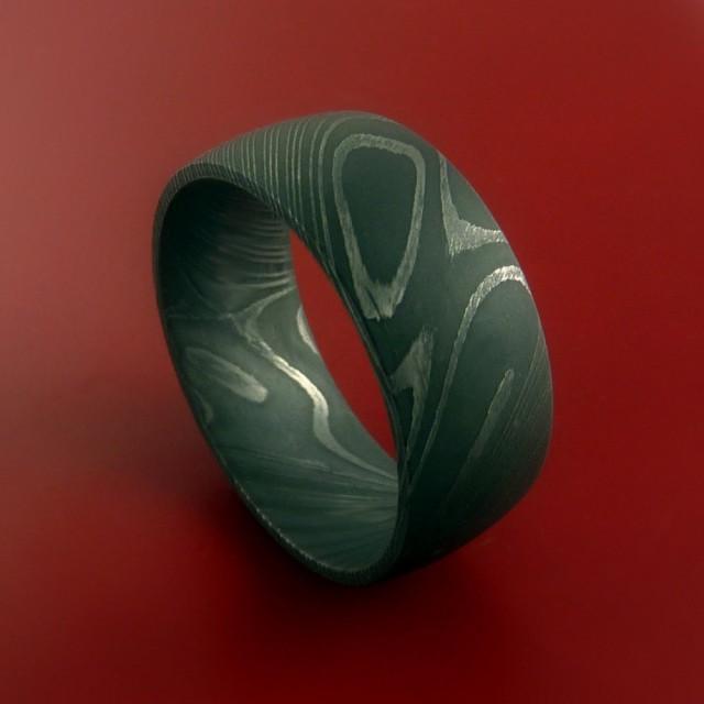 wedding photo - Damascus Steel Ring Wide Wedding Band Genuine Craftsmanship Any Size 3-22