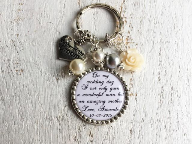 wedding photo - MOTHER of the GROOM Mother of the Bride gift Keychain or Necklace Personalized Custom Wedding Gifts for Mother in law