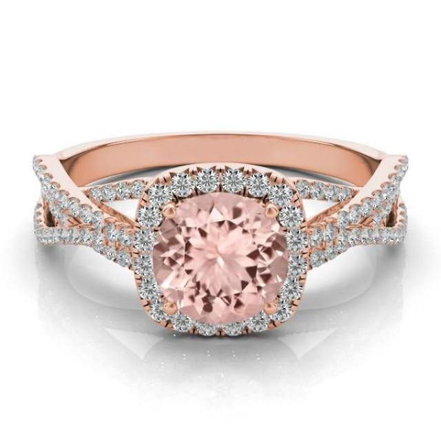 wedding photo - Morganite & Diamond Braided Ring 14k Rose Gold, Morganite Jewelry Gifts for Women, Wedding Jewelry