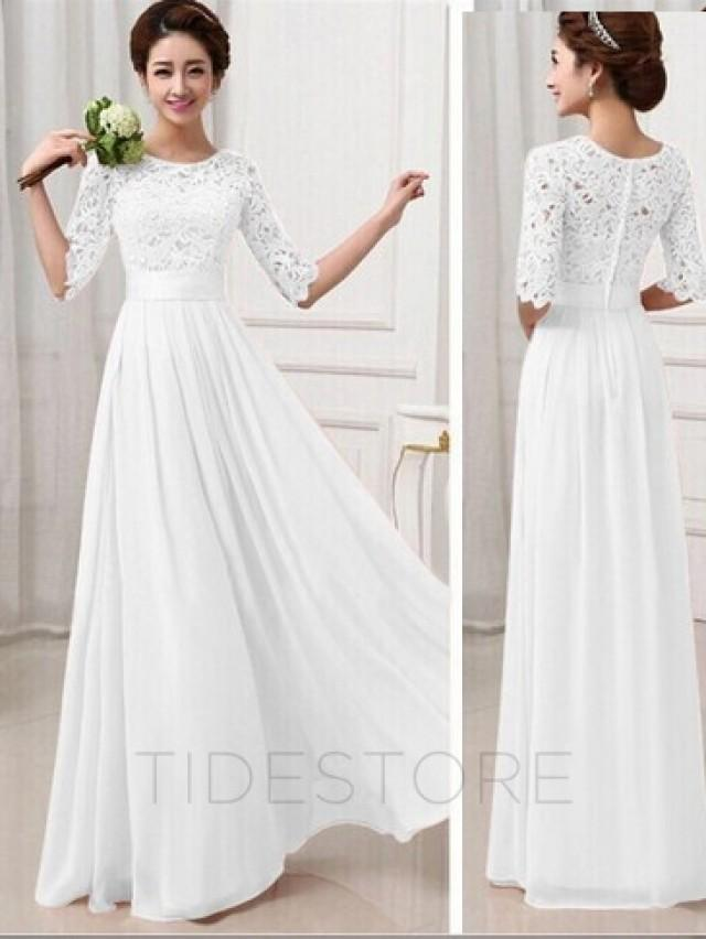 Vintage lace half sleeve chiffon long maxi plus size dress for Long sleeve chiffon wedding dress