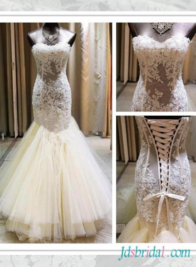 H1560 Sexy Sweetheart See Through Lace Mermaid Wedding Dress 2550299