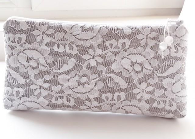 Bride, White Lace Bridal Purse, Gray Wedding Handbag Gift For Bride ...