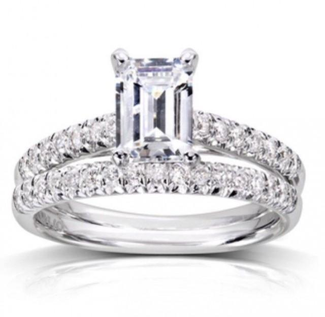 Emerald Cut Diamond Solitaire Engagement Ring Wedding Band Set With Pave& 39