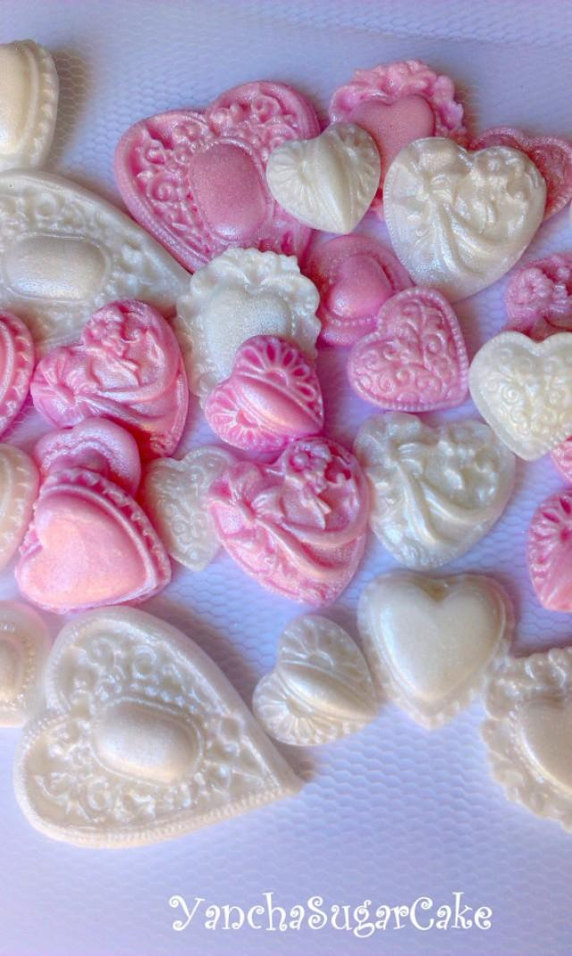 edible hearts brooch cupcake topper baby girl shower christening favor