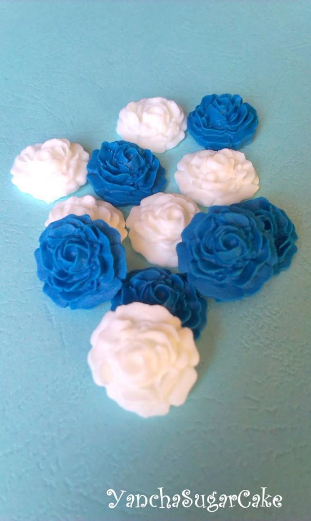 wedding photo - Fondant edible sugar mini roses White Navy blue Gumpaste flowers Wedding Bridal shower Cupcake topper Cake Baby boy shower Christening favor