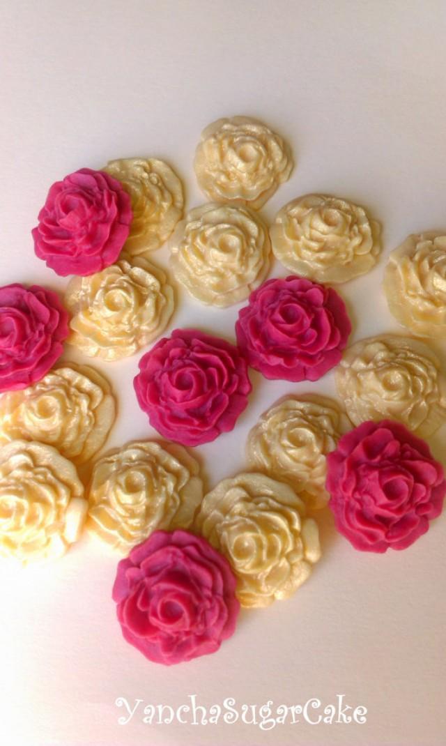 wedding photo - Fondant edible sugar mini roses set 24 Gold and Burgundy Gumpaste flowers Wedding Bridal shower Cupcake topper Cake Baby shower Christening
