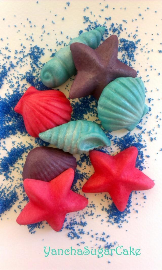 wedding photo - Large fondant gumpaste edible seashells Wedding decorations Summer cake topper Mermaid Nemo Under the sea Bridal shower Birthday party