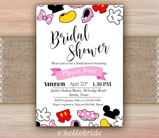 Disney theme bridal shower invitation printable disney for How to make bridal shower invitations
